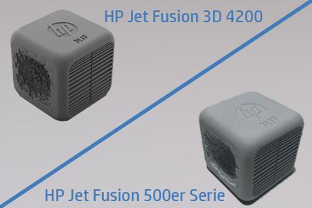 Würfel mit unterschiedlichen Oberflächen gedruckt mit Multi Jet Fusion HP