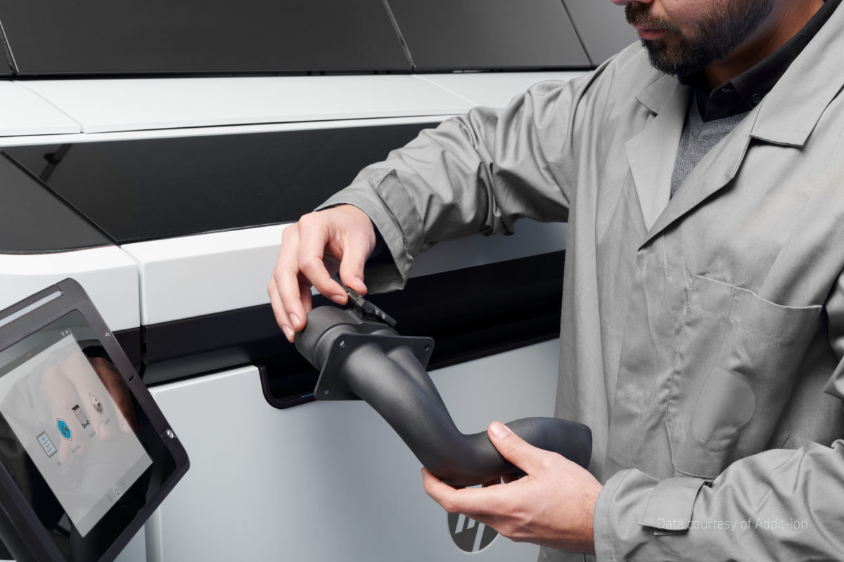 E-Tech-Rennwagenschlauch gedruckt mit HP Jet Fusion 5200 3D Drucker