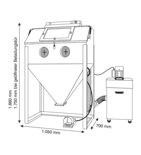 3D Druck Zubehör Sandstrahlkabine Lortz LS1000 Abmessungen