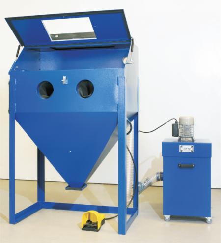 3D Druck Zubehör Sandstrahlkabine Lortz LS1000 Aufbau mit offener Klappe