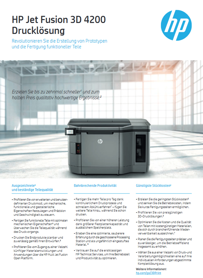 HP Jet Fusion 3D 4200 Drucklösung