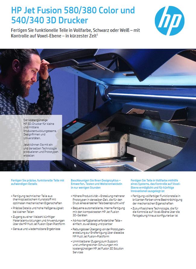HP Jet Fusion 580/380 Color und 540/340 3D Drucker